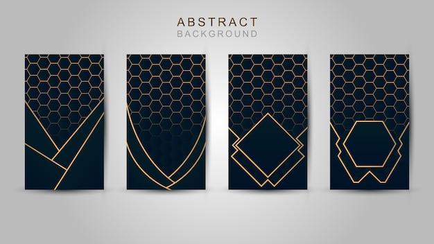 Modelo poligonal abstracto de lujo azul marino con fondo de oro.