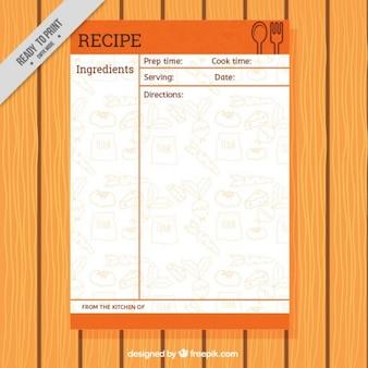 Modelo de receta con dibujos de comida