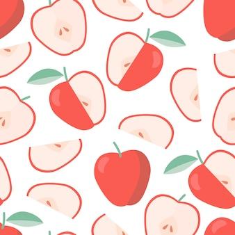 Modelo sano del verano inconsútil con la manzana en estilo plano.