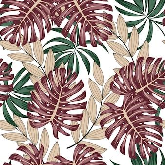 Modelo tropical sin fisuras botánico con hojas brillantes y plantas sobre un fondo blanco.