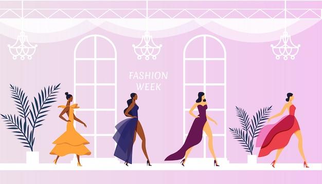 Modelos en la ilustración de vestidos de diseñador