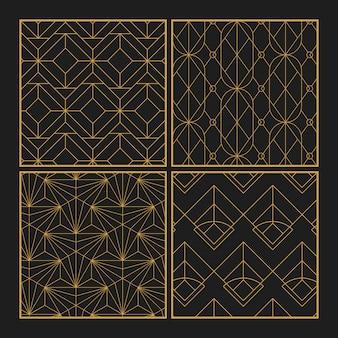 Los modelos inconsútiles geométricos de oro fijaron en fondo negro