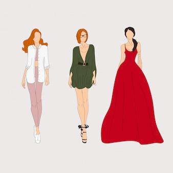 Modelos de moda dibujados a mano. bosquejo. ilustración vectorial