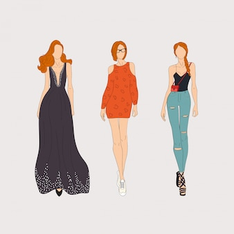 Modelos de moda dibujados a mano. concepto de ilustración