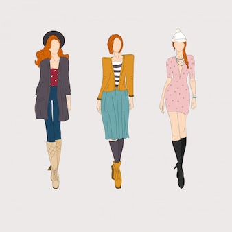 Modelos de moda dibujados a mano.