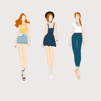 Modelos de moda dibujados a mano