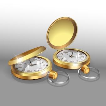 Modelos realistas de relojes de bolsillo de oro. plantilla de diseño de póster de dos relojes de bolsillo clásicos.