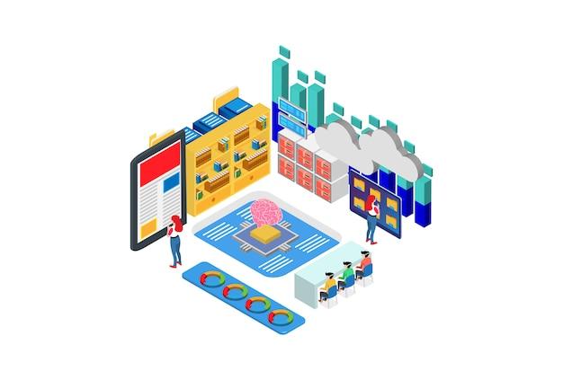 Modern isometric cloud dictionary, biblioteca de enciclopedia o ilustración de archivo web