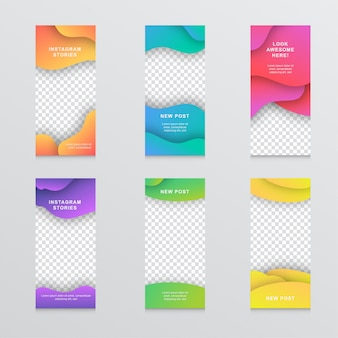 Modern liquid mobile instagram story banner set
