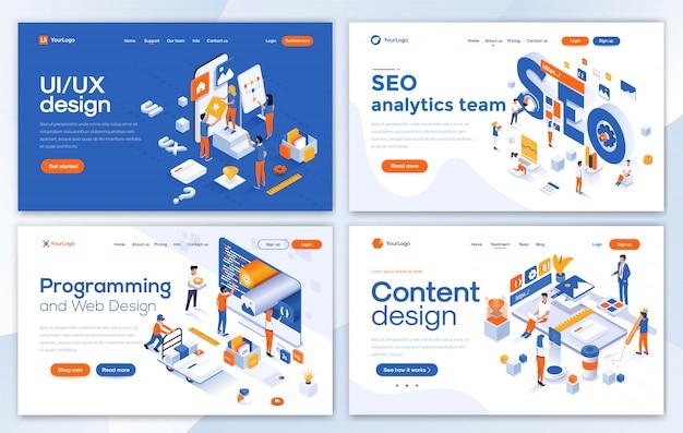 Modern of landing page template - conjunto de desarrollo web