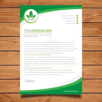 Moderna carta con membrete verde corporativa