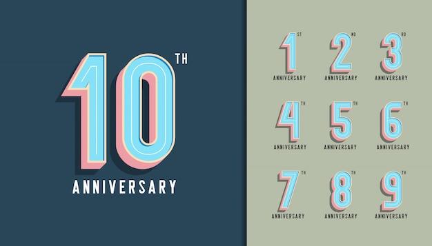 Moderna celebración de aniversario con colores pastel.
