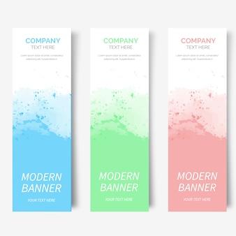 Moderna colección de banners de acuarela