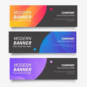 Moderna colección de banners con degradados abstractos.