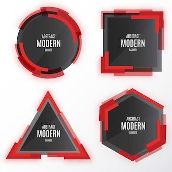 Moderna colección de banners con formas abstractas