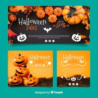 Moderna colección de banners de rebajas web de halloween