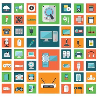 Moderna colección de iconos de dispositivos electrónicos.