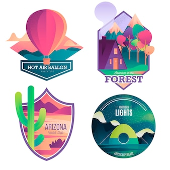Moderna colección de insignias de aventura y viajes.