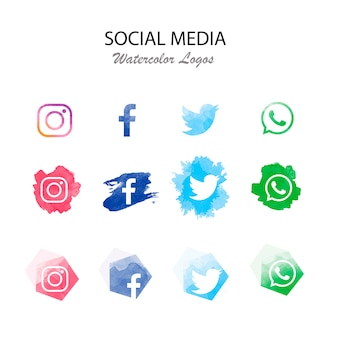 Moderna colección de logotipos de redes sociales.