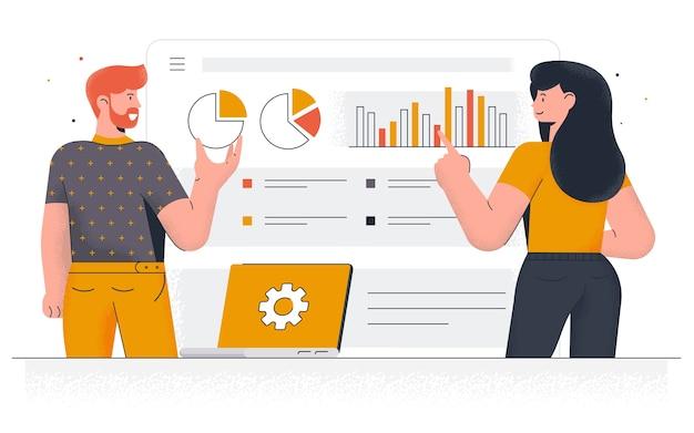 Moderna estrategia de marketing. hombre joven y mujer trabajando juntos en el proyecto. trabajo de oficina y gestión del tiempo. fácil de editar y personalizar. ilustración