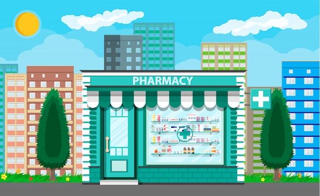Moderna farmacia exterior o farmacia.