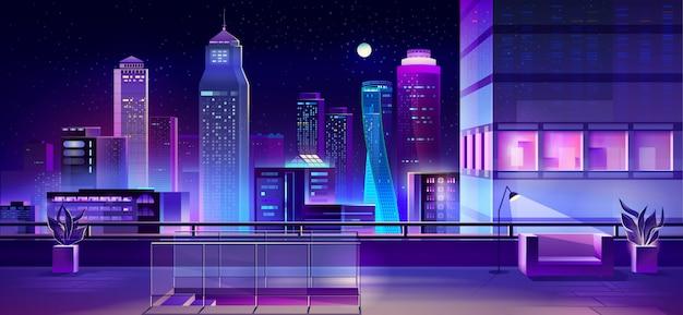 Moderna megapolis en la noche, arquitectura urbana de la ciudad.