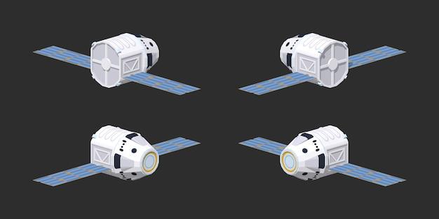 Moderna nave espacial isométrica 3d lowpoly reutilizable