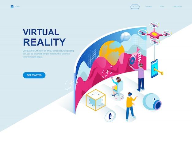 Moderna página de aterrizaje isométrica de diseño plano de realidad virtual.