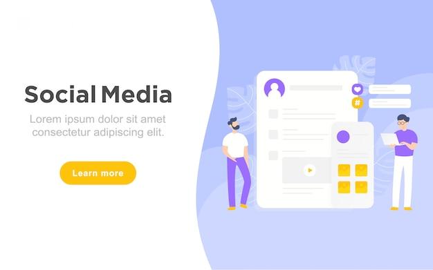 Moderna página de aterrizaje plana del concepto de redes sociales.