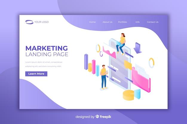 Moderna página de destino con concepto de marketing.