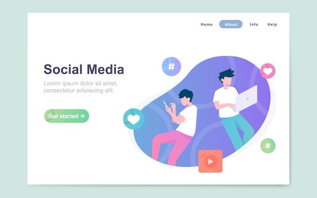Moderna página plana de aterrizaje de las redes sociales.