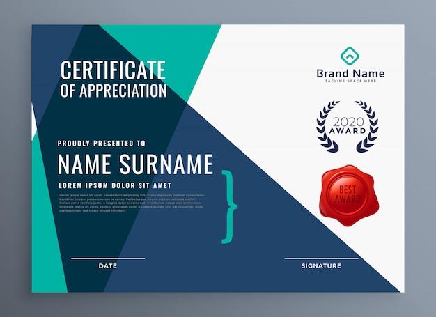 Moderna plantilla de certificado de apreciación.