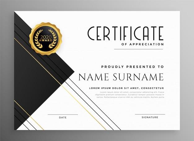 Moderna plantilla de certificado en blanco y oro negro