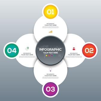 Moderna plantilla de negocios de infografía y visualización de datos con 4 opciones.