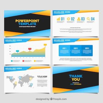 Moderna plantilla de powerpoint con datos infográficos