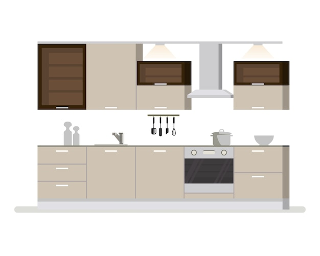 Moderna sala de cocina interior en tonos claros. utensilios de cocina y electrodomésticos. cazuela tazas y cuchillos. ilustración de dibujos animados aislado plano