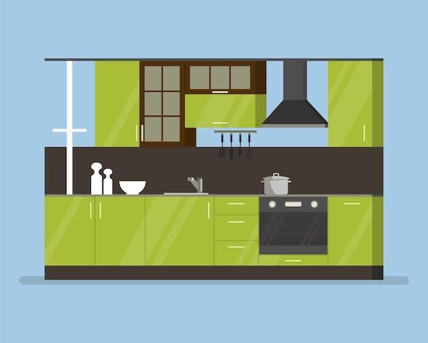 Moderna sala de cocina interior en tonos verdes. utensilios de cocina y electrodomésticos. cazuela tazas y cuchillos. ilustración de dibujos animados aislado plano