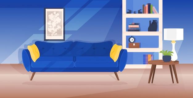 Moderna sala de estar interior vacío nadie apartamento con muebles horizontales