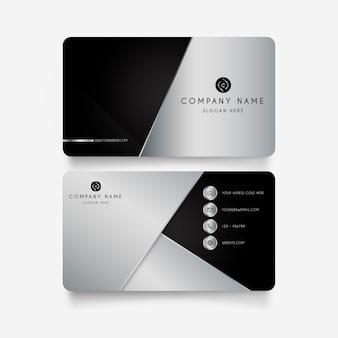 Moderna tarjeta de visita con formas metálicas.