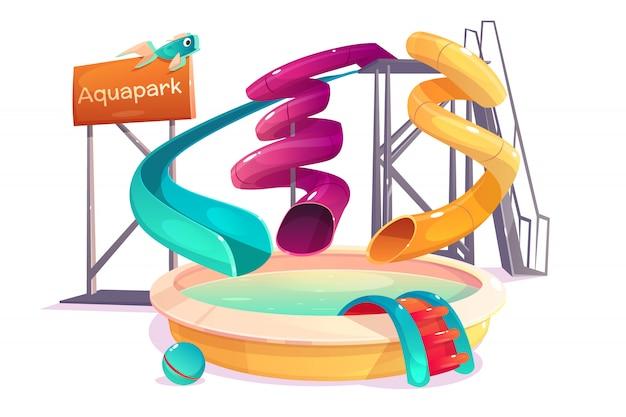 Modernas atracciones acuáticas del parque de atracciones.