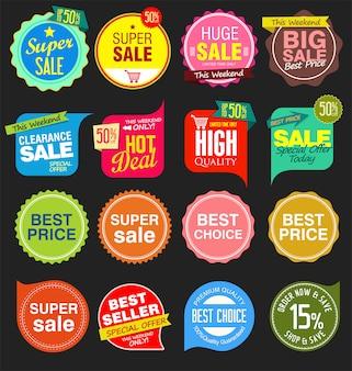Modernas calcomanías de venta y etiquetas de colección colorida.