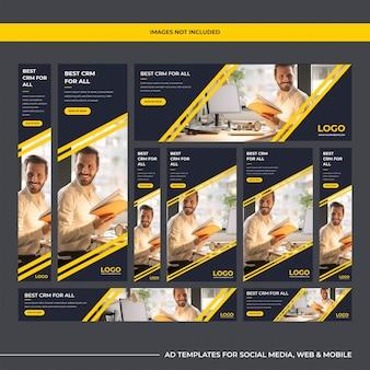 Modernas empresas de software de usos múltiples, plantillas de anuncios para marketing digital.