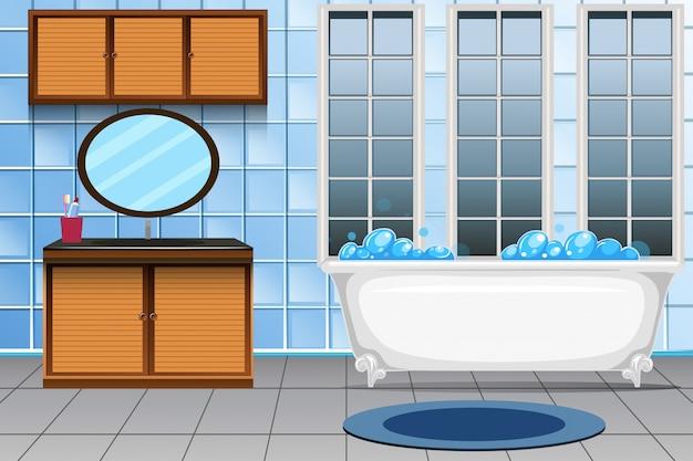 Un moderno baño interior.