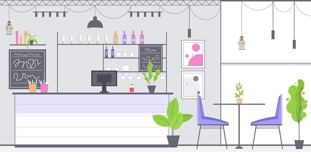 Moderno café interior vacío sin restaurante de personas