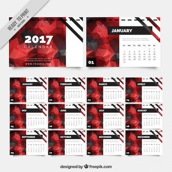 Moderno calendario 2017 en estilo poligonal