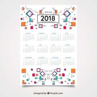 Moderno calendario 2018 con formas geométricas