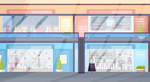 Moderno centro comercial minorista con visitantes en la tienda de ropa boutique y cafetería supermercado interior plano horizontal