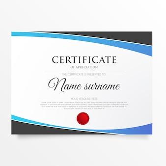 Moderno certificado de apreciación con formas abstractas.