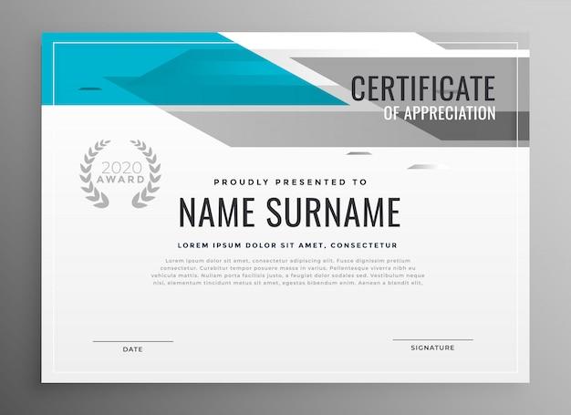 Moderno certificado geométrico de plantilla de apreciación.