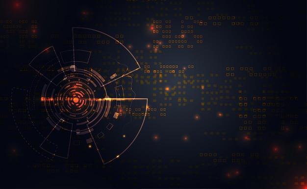 Moderno círculo de comunicación tecnología de conexión de línea de oro premium